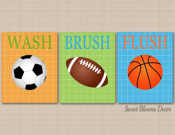 Sports Bathroom Decor Kids Wall Art Soccer Football Baseball