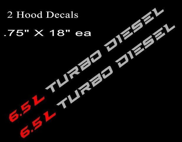 2 6.5L TURBO DIESEL Hood Decals Stickers Chevy Silverado GMC Sierra RD//BLK