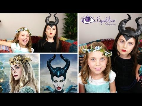 Kids Maleficent Dress Ups Tutorial with EyedolizeMakeup & CharlisCraftyKitchen - YouTube
