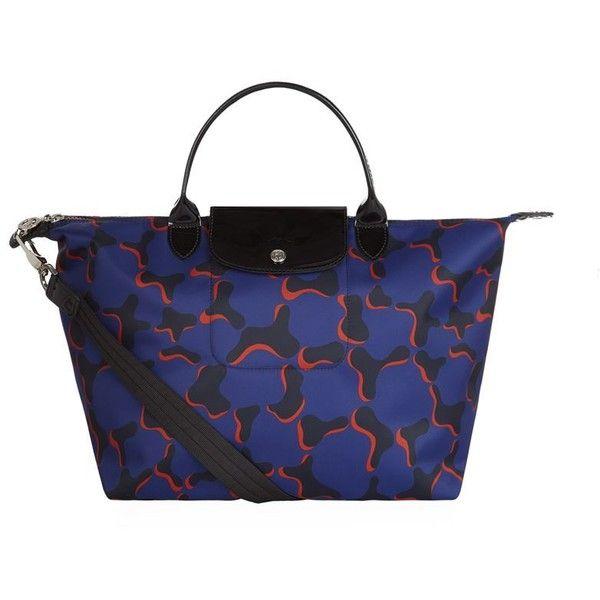 Longchamp Le Pliage Néo Fantaisie Medium Handbag (8,880 PHP) ❤ liked on Polyvore featuring bags, handbags, sling handbags, blue camo purse, camoflauge purse, camo purse and animal print handbags