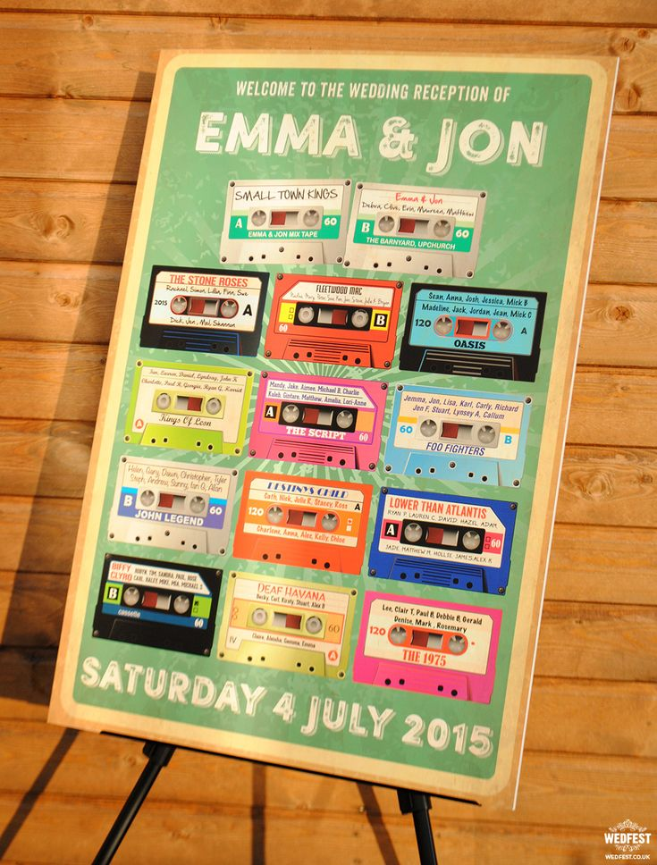 retro cassettes wedding seating plan http://www.wedfest.co/alternative-wedding-invitations-and-wedding-stationery/