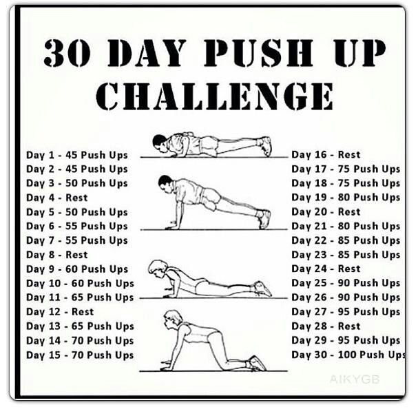 30 day push up challenge | Workout Help | Pinterest