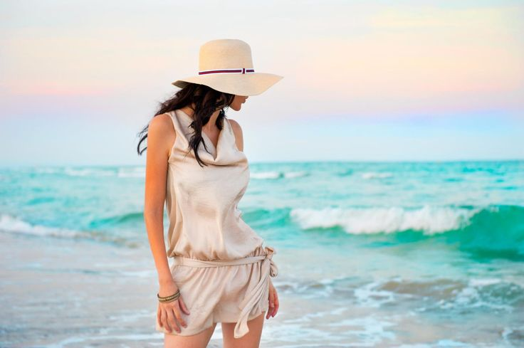 Young beautiful sexy tanned brunette woman wearing straw hat and by Kirill Kedrinski on 500px