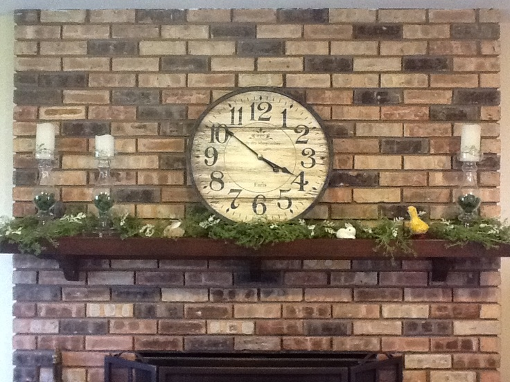 Spring mantel in my family room: My Families, Family Rooms, Families Rooms