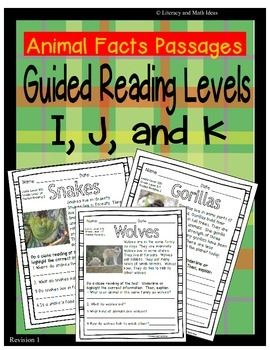 These leveled passages are a convenient way to teach students about animals. The document includes fifteen reading passages that are at three different reading levels. $