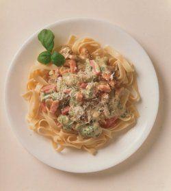 Bilde av Pasta med skinke og sopp oppskrift.
