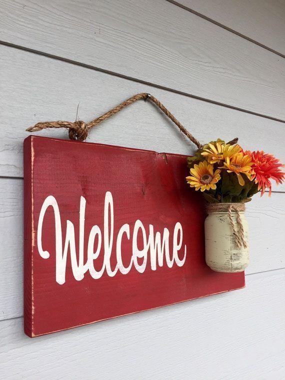 Nice Nice Rustic Outdoor Welcome Sign In Red   Wood Signs   Front Door Sign