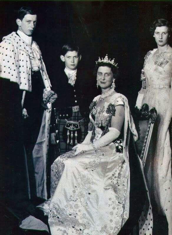 Prince Edward of Kent, Prince Michael of Kent,  Marina Duchess of Kent, Princess Alexandra of Kent - at the Coronation of Queen Elizabeth Ii - 1953
