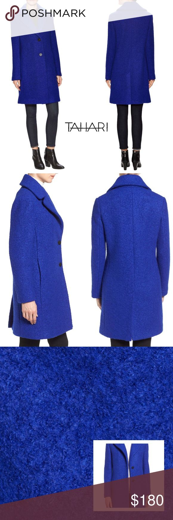 """JUST ARRIVED! TESSA BOYFRIEND COAT Boiled woolen texture adds a cozy tactile element to this chic longline coat with generous notched lapels for face-framing warmth. +36"""" length +Two-button closure +Notched lapels +Long sleeves +Back vent +Fully lined +50% wool, 50% polyester *Dry clean  MEASUREMENTS to come  +Want to be notified of price change? Like this Listing  Bundle Discount ^ No Trades ^ Make Offers Thur Offer Button ^ Have a question? Please Ask! T Tahari Jackets & Coats Pea Coats"""