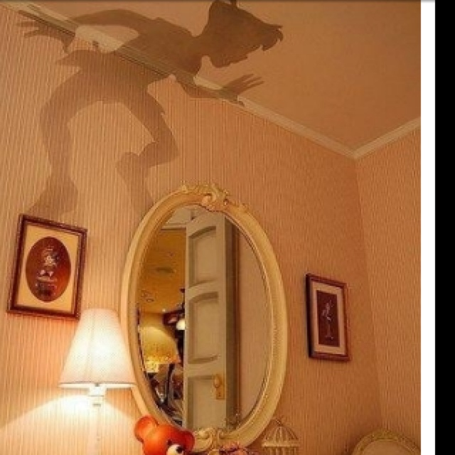 Put a Peterpan cutout on top of a lamp and walllah!!! PERFECT  FOR GIRLS BEDROOM!