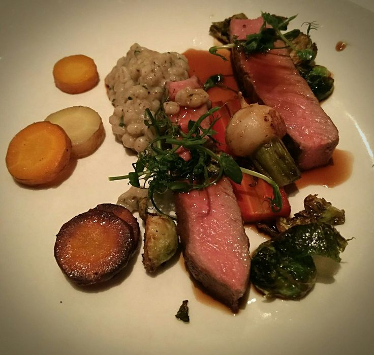 Tasting main :Lamb loin. Truffled barley risotto. Roasted root vegetables. Red wine jus. #eatlocal