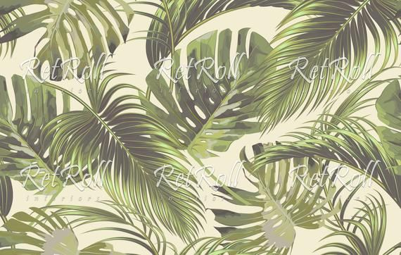 Tropical Paradise Removable Wallpaper Design Wall Covering Reusable Peel And Stick Self Adhesive Decal Vintage Art 32 Background Patterns Watercolor Illustration Leaf Pattern