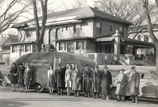Libraries on wheels: Topeka's First Bookmobile and Mulvane Children's Library, March 1943.