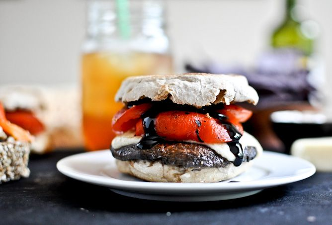Asiago Portobello Burgers with Roasted Red Peppers + Balsamic GlazeBalsamic Burgers, Portobello Burgers, Peppers Burgers, Asiago Burgers, Asiago Cheese, Roasted Peppers, Asiago Portobello, Balsamic Glaze, Roasted Red Peppers