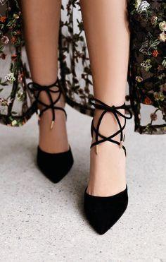 Dani Black Suede Lace-Up Heels