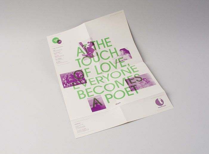 At the touch of love everyone becomes a poet. Brochure, print, duotone.