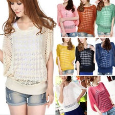 Fashion Womens Batwing Sleeve Loose Hollow Pullover Knit Tops Jumper Sweater (pink, yellow, beige)*
