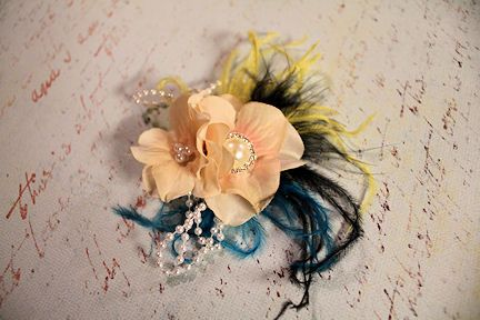 Baby hair clip with hydrangeas and ostrich feather