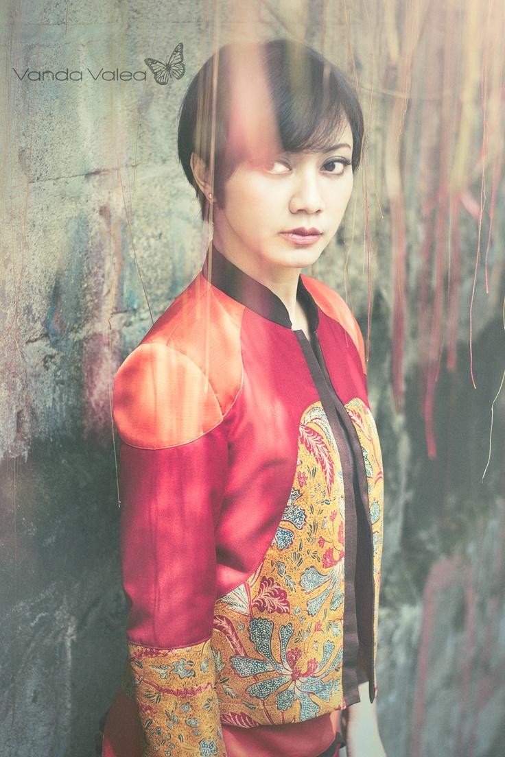 Mulan (jacket+skirt) Using Indonesian heritage batik 3N in selected pattern, combine with Italian wool