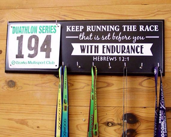 Running Medal Holder and Race Bib Hanger, Hebrews 12:1,  Keep Running the Race that is set before you with endurance. Marathon Medal Display