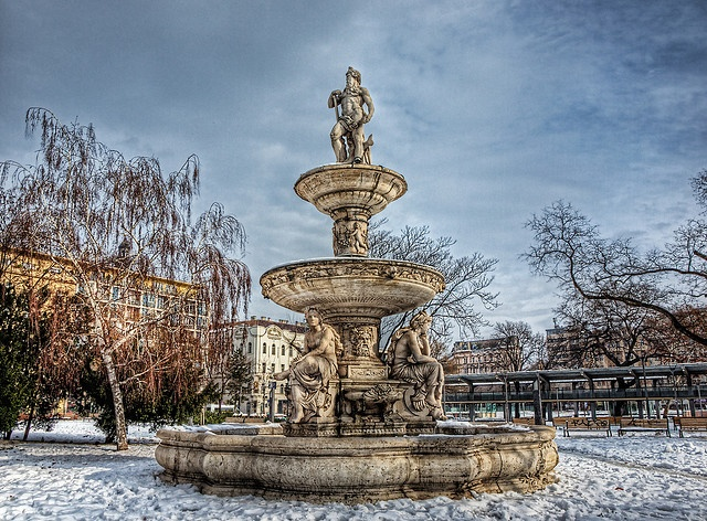 The Danubius-well, Budapest's most magnificent fountain can be found in the Erzsébet square.