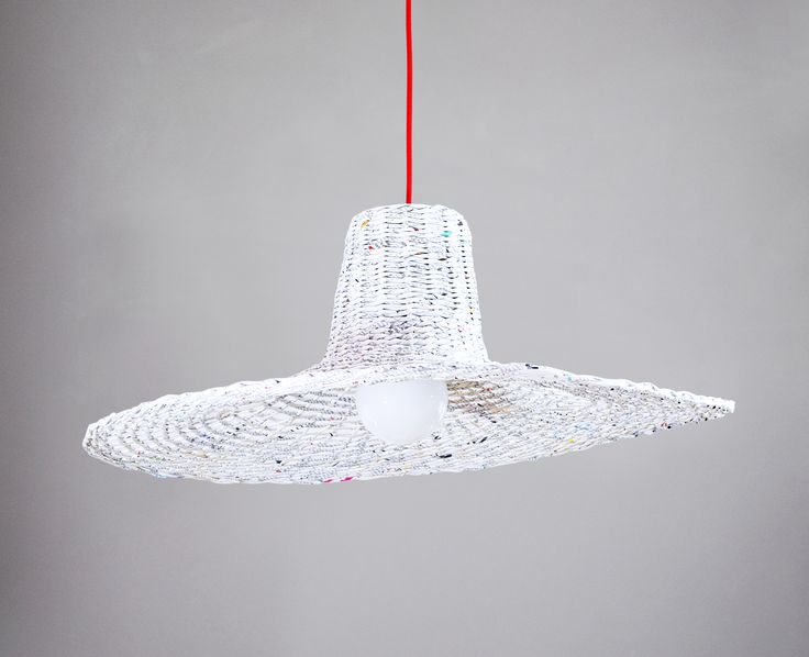White light eco hanging lamp / big paper hat - lamp Misia by Barborka Design.