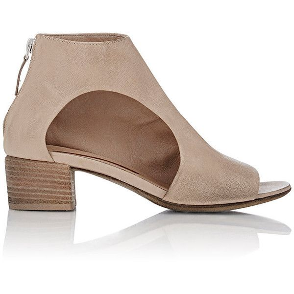 Marsèll Cutout Open-Toe Ankle Boots (19.973.710 VND) ❤ liked on Polyvore featuring shoes, boots, ankle booties, ankle boots, nude, nude ankle boots, leather boots, open toe booties, cut out ankle booties and leather cut out booties