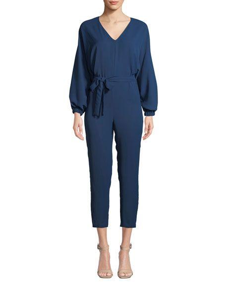 d141bbe7c24e Soraya Belted Long-Sleeve Cropped Jumpsuit Amanda Uprichard