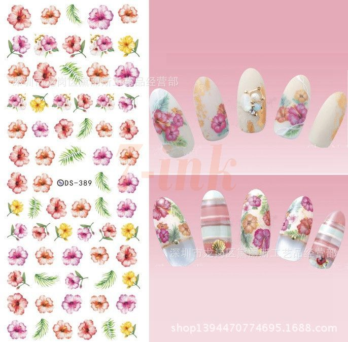 56 best nail stickers images on pinterest black clothes and makeup stickers for nail art diy pink yellow little flower leaf water transfer nail stickers wraps foil prinsesfo Choice Image