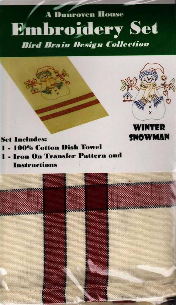 Winter Snowman  Dish Towel  Embroidery Set      2 Towels + Transfer Pattern  Kit