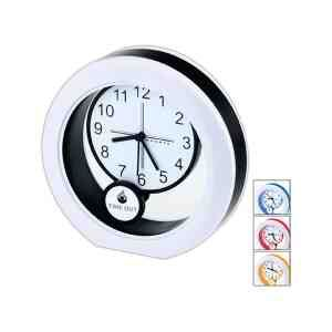 Round pendulum analog clock swings back and forth with your logo for maximum exposure. Logo is digitally printed on the pendulum dial.