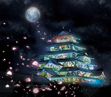 Seiji Fujishiro - Projection of arts on Tsuruga-jo castle, Fukushima  藤城清治の影絵を鶴ヶ城にプロジェクションマッピング、音楽は大友良英とSachiko M