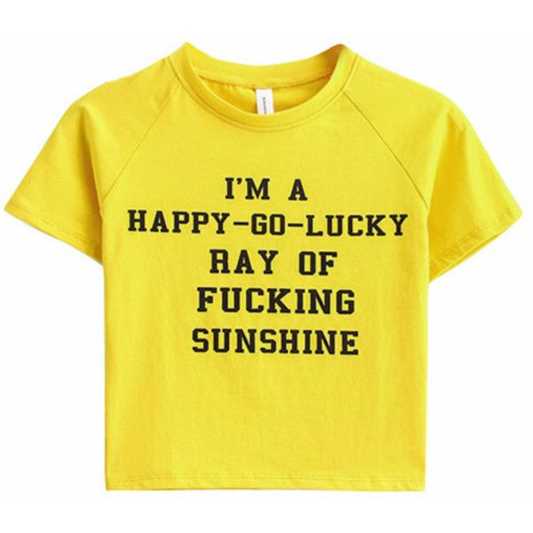 Fucking Sunshine Crop Tee (£14) ❤ liked on Polyvore featuring tops, t-shirts, crop t shirt, crop top, yellow tee, yellow crop top and cut-out crop tops