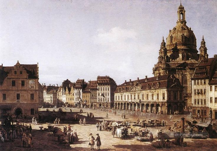 NEW MARKET SQUARE IN DRESDEN. 1750 c.- oil on canvas. Provenance: delivered by Bernardo Bellotto to Gemaldegalerie of Dresden in 1750.