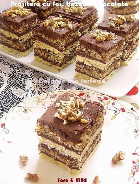 Prajitura cu foi, bezea si ciocolata este o prajitura extraordinar de buna ca de altfel toate prajiturile cu nuca. O alta prajitura la fel de buna este si Prajitura cu nuci, rahat si crema d…