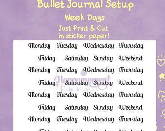 Bullet Journal Setup, Printable Stickers: Days