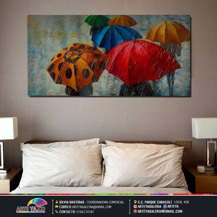 Combina el gusto por el buen arte. #ArteYa Obra: Sombrillas Autor: Hernández Medidas: 150 cm x 55 cm