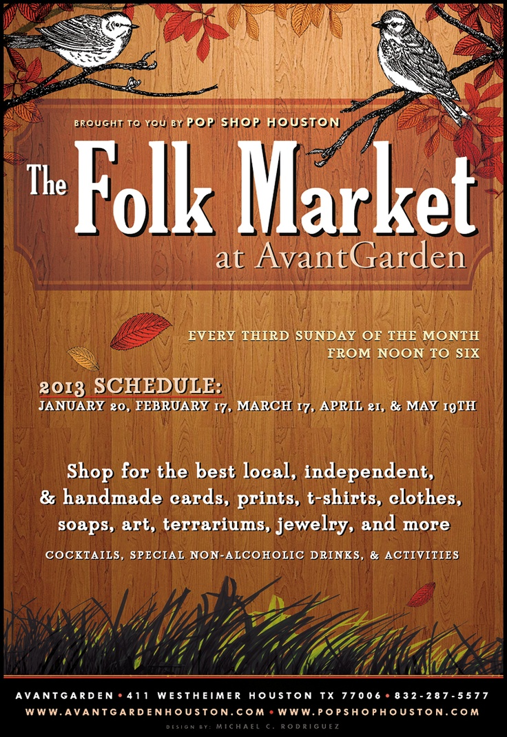 Poster design handmade - The Folk Market A Monthly Indie Craft Design Fair Curated By Pop Shop Houston Will Set Up Shop At Avantgarden There Will Be Activities Alcoholic And