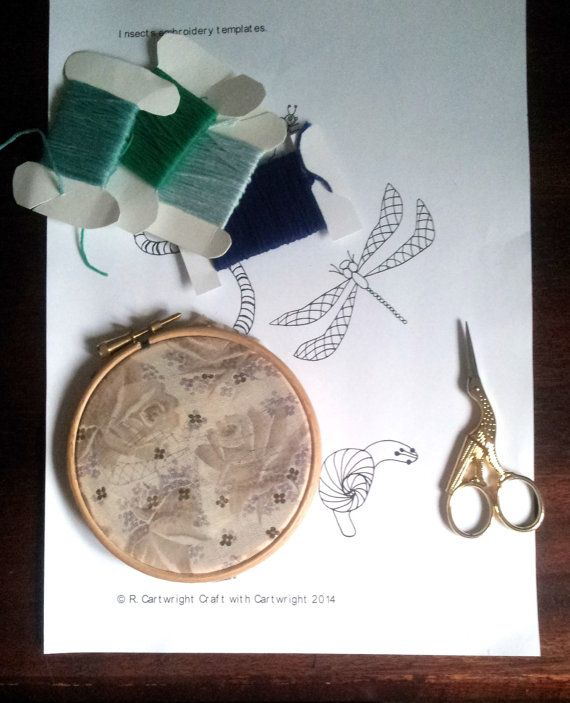 Set of six insect designs hand embroidery by CraftwithCartwright