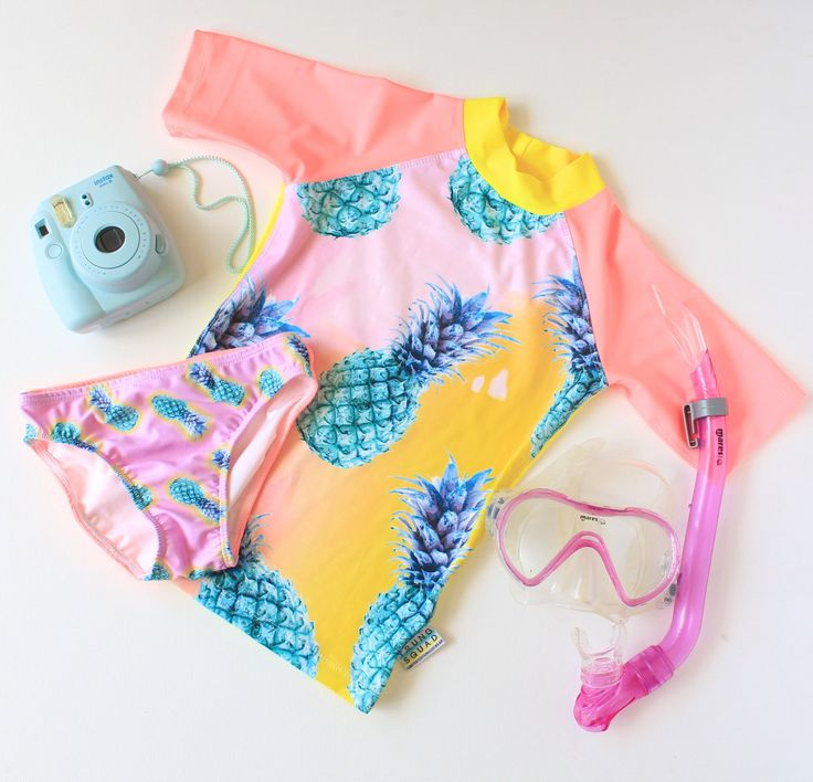 Girls rash shirt and pants set. Girls two piece swimsuit with pineapple design