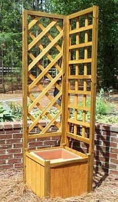 Wooden Planter With Trellis.