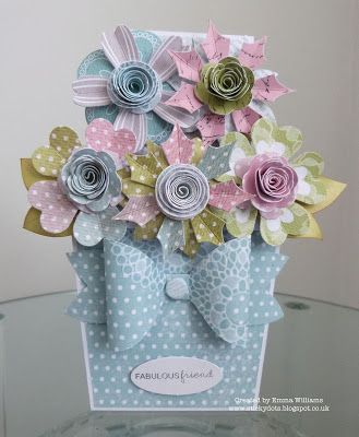 handmade flowerpot card from Craftwork Cards Blog: Cards With A Difference by Emma ... gorgeous rolled flowers in beautiful pastels ...