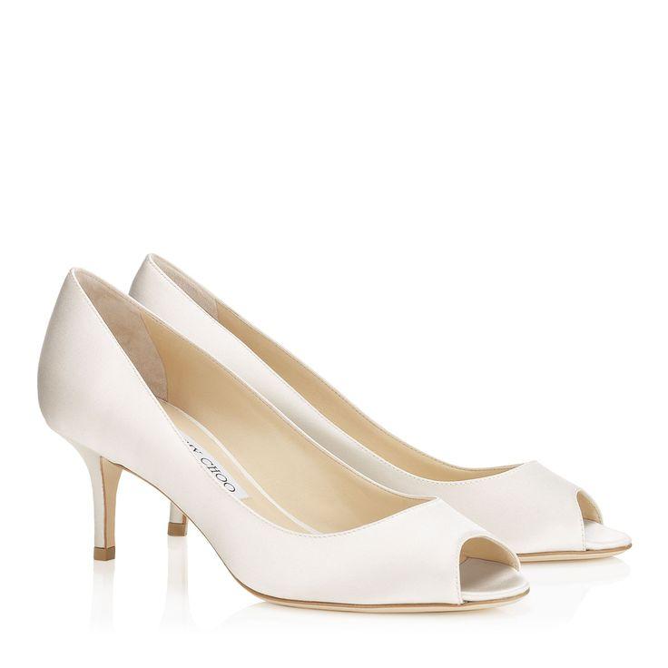 Ivory Silk Satin Pumps | Peep Toe Shoes |Bridal | Isabel | JIMMY CHOO Shoes