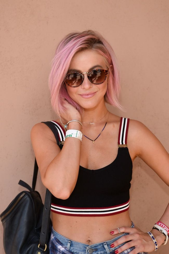 Julianne Hough shows off her newly dyed pink hair while at Coachella. Photo: Stefanie Keenan/Getty Images for Forever 21