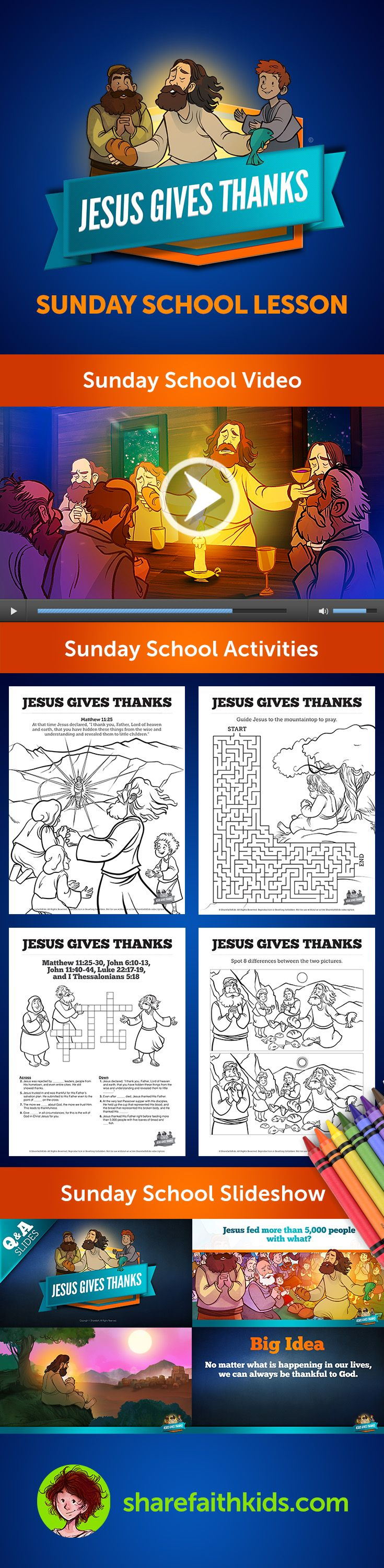 Matthew 11 Jesus Gives Thanks Kids Bible Lesson will lead your class through a discussion of gratitude as seen through the life of Jesus. Packed with tons of content, this lesson is a must-have for your upcoming Sunday School.
