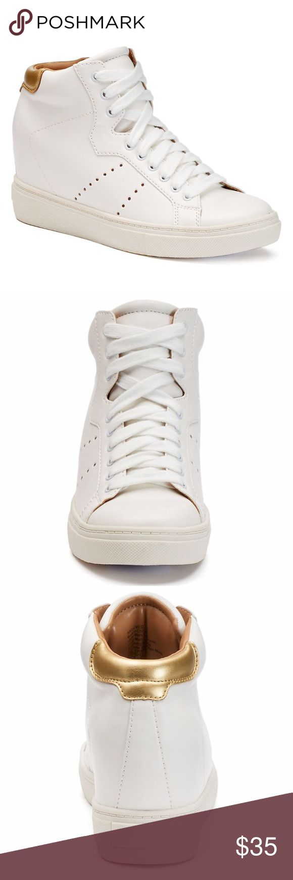 """NWT. White wedge sneaker NWT. White & gold wedge sneaker. Features high top, hidden wedge, padded collar and tongue, round toe, lace up closure, padded footbed, 3"""" heel and 0.75"""" platform. Very comfortable. Comes in a box. True to size. Sorry, no trades. Like the item but not the price, feel free to make me a reasonable offer using the offer button. Candie's Shoes Sneakers"""