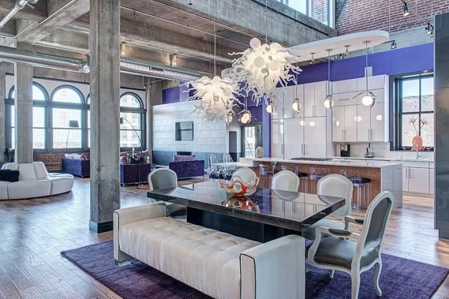 wohnungseinrichtung-eklektische-möbel-offene-raumgestaltung-küche-glanzfronten