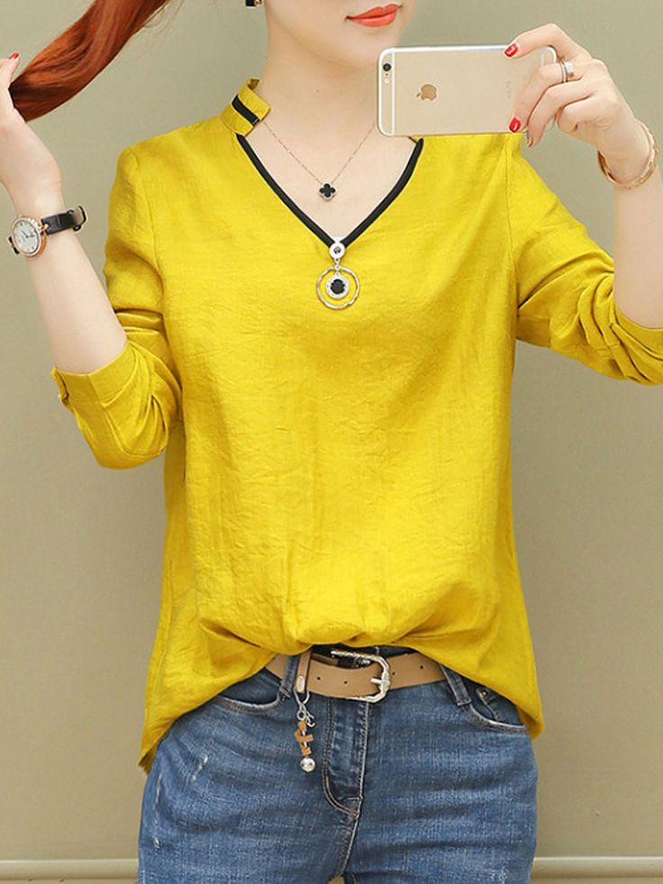Autumn Spring Polyester Women V-Neck Plain Long Sleeve Blouses #Blouses