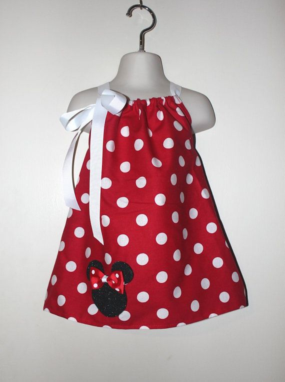 Pink OR Red Minnie Mouse Dress and Hair Bow by SweetberryBoutique