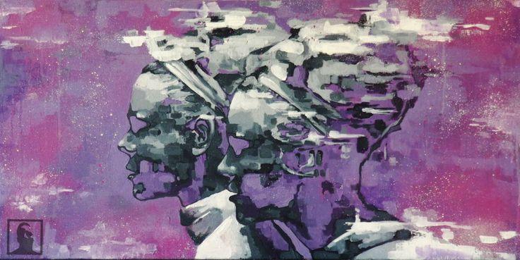 Portrait twins abstract acryl on canvas, 45x90